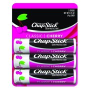 ChapStick Classic (1 Blister Pack of 3 Sticks, Cherry Flavor) Skin Protectant Flavored Lip Balm Tube, 0.15 Ounce Each