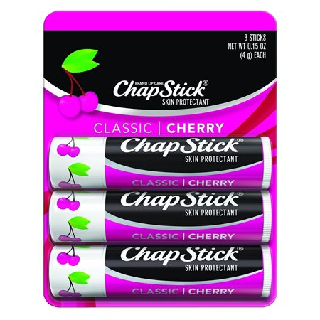 ChapStick Classic (1 Blister Pack of 3 Sticks, Cherry Flavor) Skin Protectant Flavored Lip Balm Tube, 0.15 Ounce