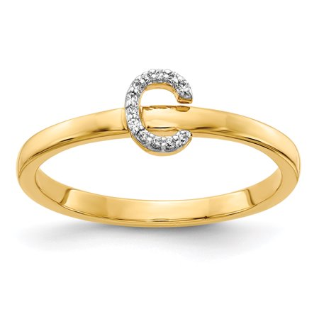 14k Yellow Gold Initial Ring - 14K Yellow Gold Diamond Initial C Ring (0.036Cttw)