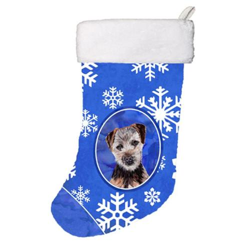 Carolines Treasures SC9783-CS Norfolk Terrier Puppy Winter Snowflakes Christmas Stocking, 11 x 8 inch