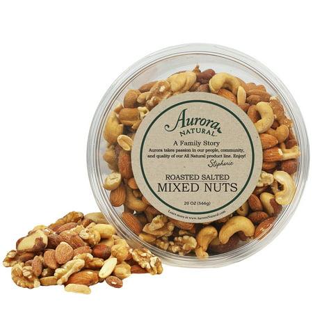 Aurora Salt - Aurora Natural Roasted Mixed Nuts, Salted, 20 Oz (Family Tub)