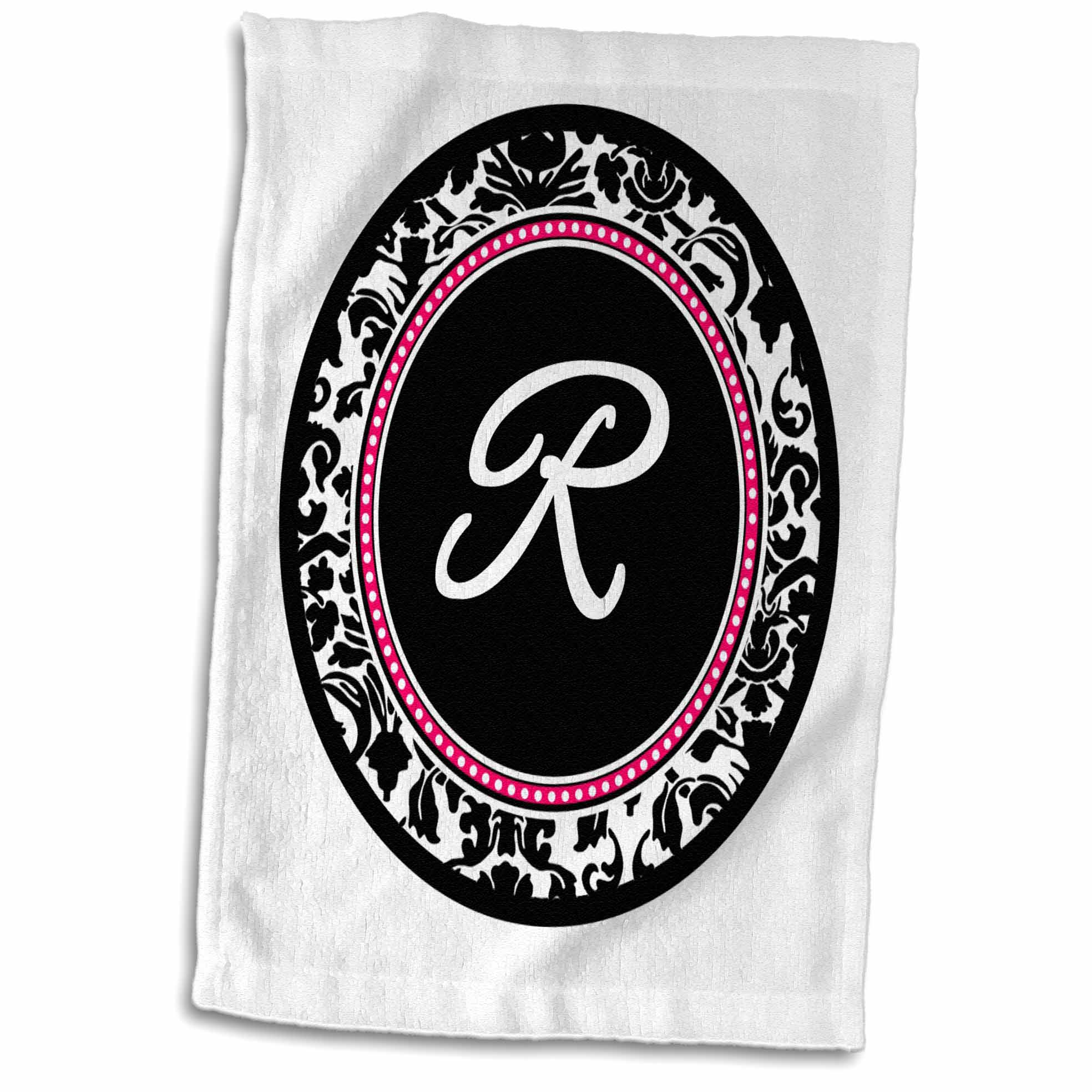 3dRose Letter R stylish monogrammed circle - girly personal initial personalized black damask with hot pink - Towel, 15 by 22-inch