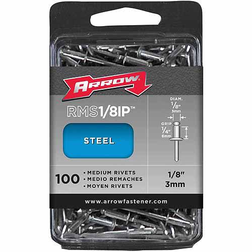 """Arrow Fastener Co. 1 8"""" Medium Steel Rivets 100 Count by ARROW FASTENER CO"""