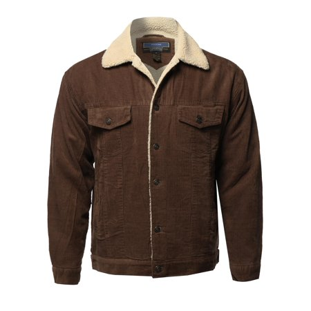 FashionOutfit Men's Solid Corduroy Sherpa Lining Western Style Jacket
