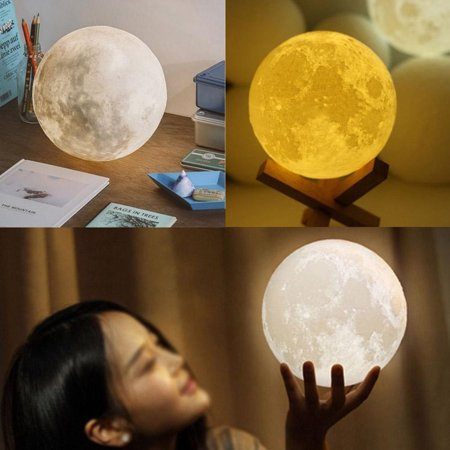 Moon Light,USB Rechargeable LED Night Light, Touch Control 3D Printed Moon Lantern Lamp, Warm and Cool White Lunar Moonlight Baby Soft Lights, Home Decorative Hanging Light (Diameter 3.94 IN)