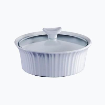 Corningware French White 1.5 Quart Round Casserole Dish with Lid by