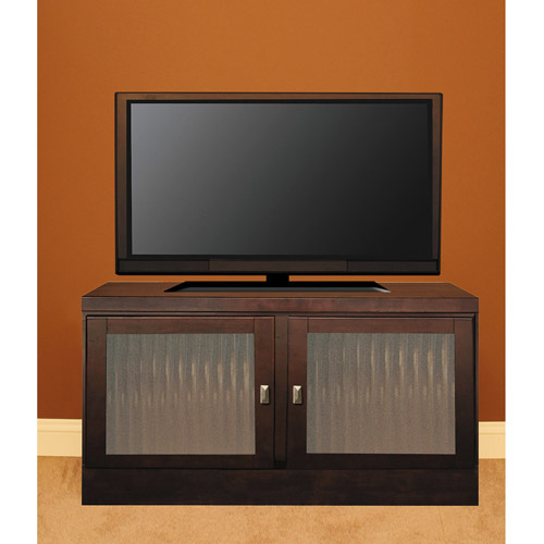 "48"" Console with Contemporary Handles & Fluted Tempered Glass Doors, Mocha"