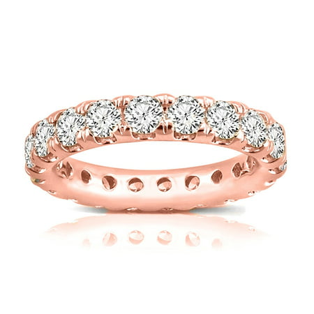 14K Rose Gold Eternity Diamond Lab Grown Round Ring Band, Size 5