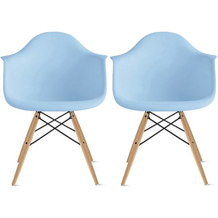 2xhome Set of 2 Blue Mid Century Modern Plastic Dining Chair Molded Arms Armchairs Natural Wood Legs Desk No Wheels Accent Chair Vintage Designer for Small Space Table Furniture Living Room Desk DSW