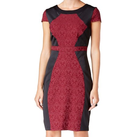 Sangria NEW Black Red Womens Size 6 Textured Colorblock Sheath Dress (Best Red Sangria Recipe)