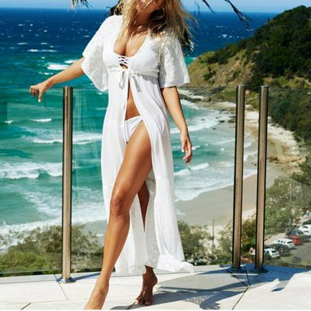 0a52aef91759a Women Swimsuit Kaftan Lace Crochet Bikini Swimwear Cover Up Beach Maxi Dress  White Size M - Walmart.com