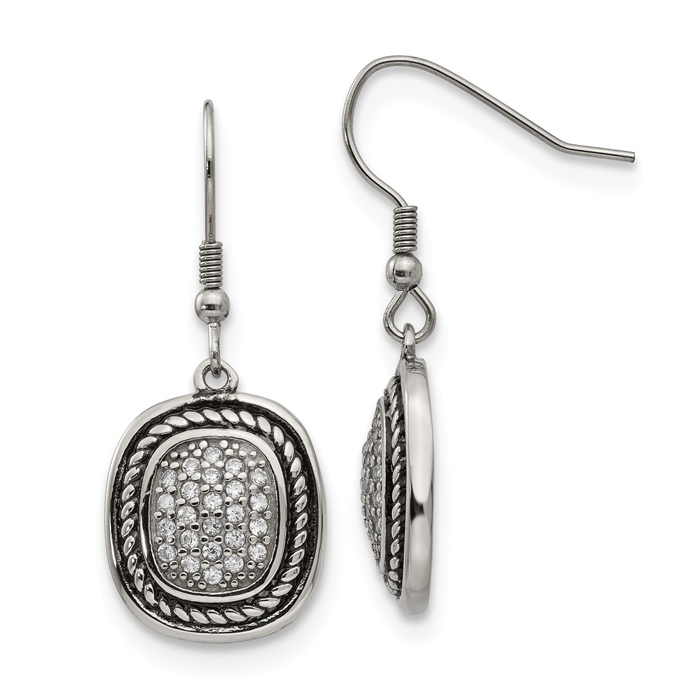 Stainless Steel Polished and Antiqued CZ Shepherd Hook Earrings