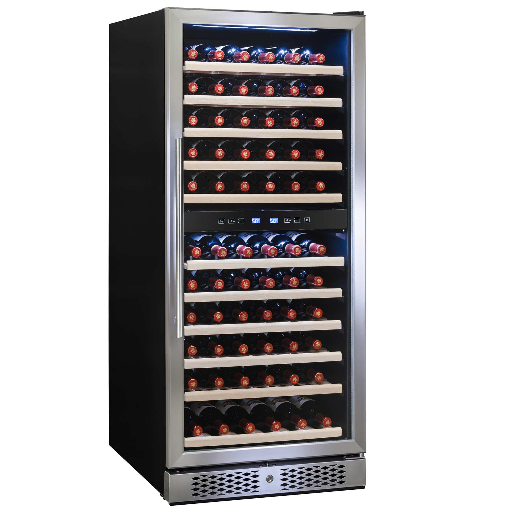 Image of AKDY 116 Bottles Dual Zone Adjustable Built-in Compressor Freestanding Wine Cooler