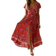 FOCUSNORM Women's Summer Short Sleeve Floral Print Maxi Dress Bohemian Beach Waist Tie Wrap Long Flowy Dress with Slit