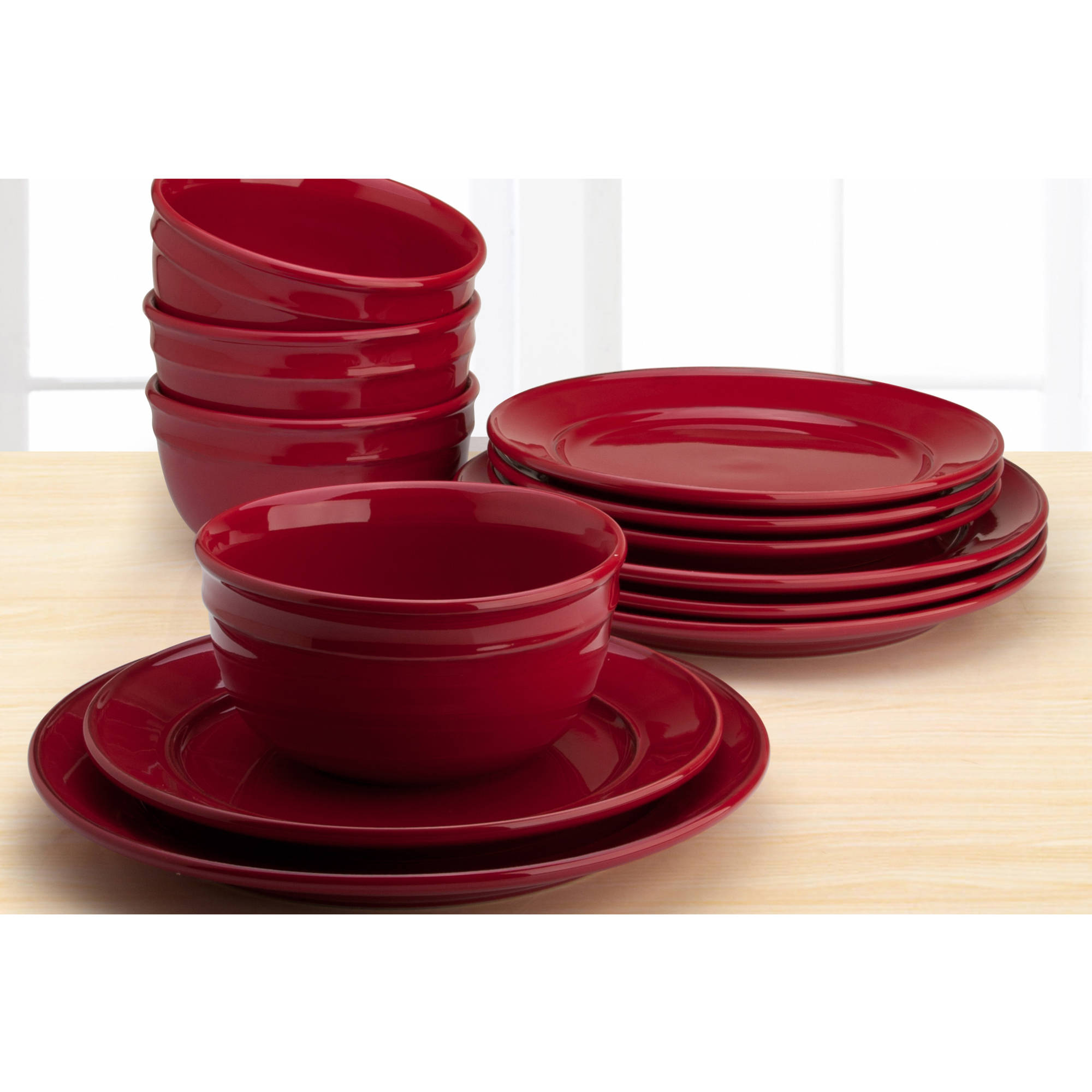 Add ...  sc 1 st  eBay & Amelia 12-Piece Solid Color Dinnerware Set Red Sedona 635928126381 ...