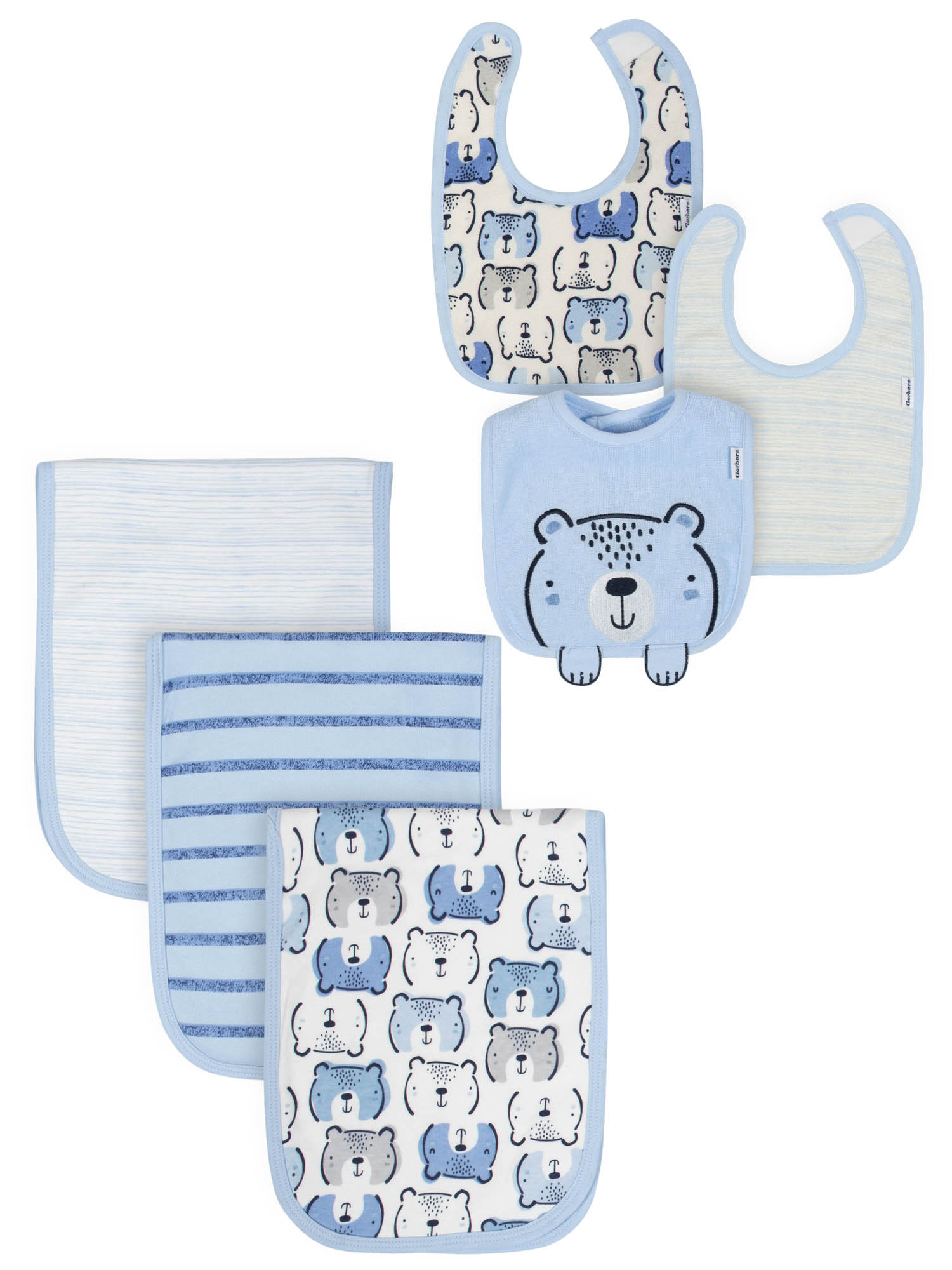 Gerber Organic Terry Bibs and Burp Cloths Set (Baby Boys)