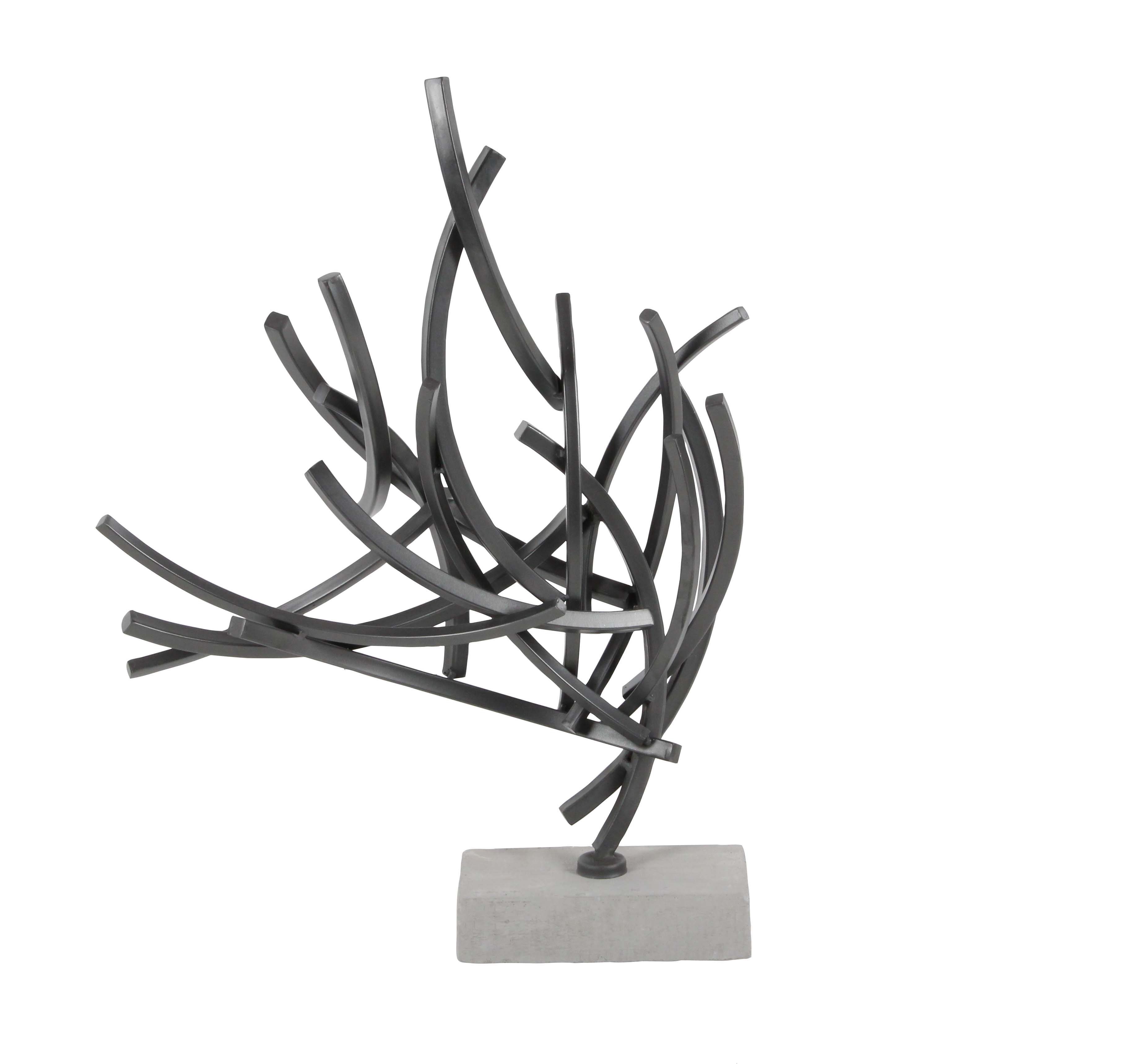 Decmode Contemporary 23 X 16 Inch Welded Abstract Iron and Cement Sculpture, Gray by DecMode