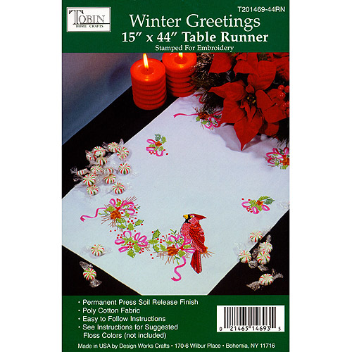 Tobin 329426 Winter Greetings Stamped Table Runner For Embroidery-15 inch x 44 inch