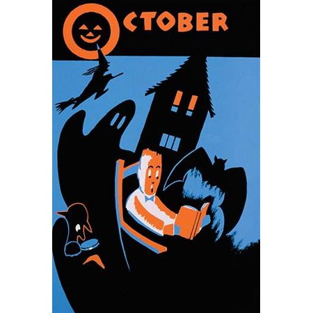 Poster for the WPA Statewide Library Project showing a boy reading a book surrounded by a bat ghost witch and other images of Halloween Poster Print by Albert M Bender