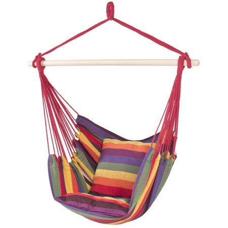 Best Choice Products Portable Hanging Cotton Hammock Rope Chair Swing, Red Stripe