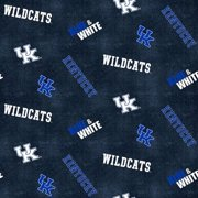 University of Kentucky Flannel Fabric with Distressed Ground and logo and mascot print-100% cotton-Sold by the Yard