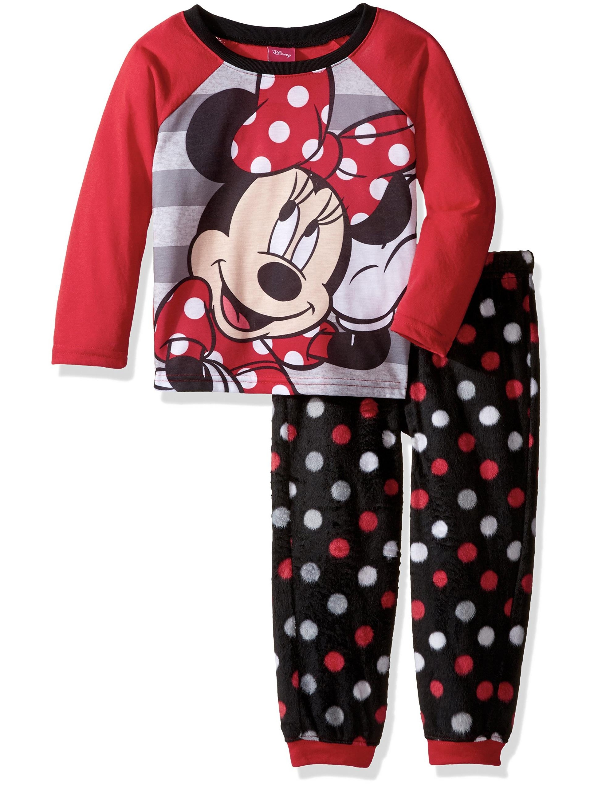 Disney Girls' Minnie Mouse 2-Piece Pajama Jogger Set, Red, Size: 8