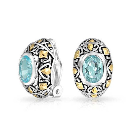 Tow Tone Bali Style Aqua Blue Oval Clip On Earrings For Women Simulated Aquamarine CZ Cubic Zirconia Rhodium Plated Blue Clip Earrings