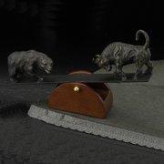 Bey-Berk International 6H in. See-Saw Bull and Bear Sculpture