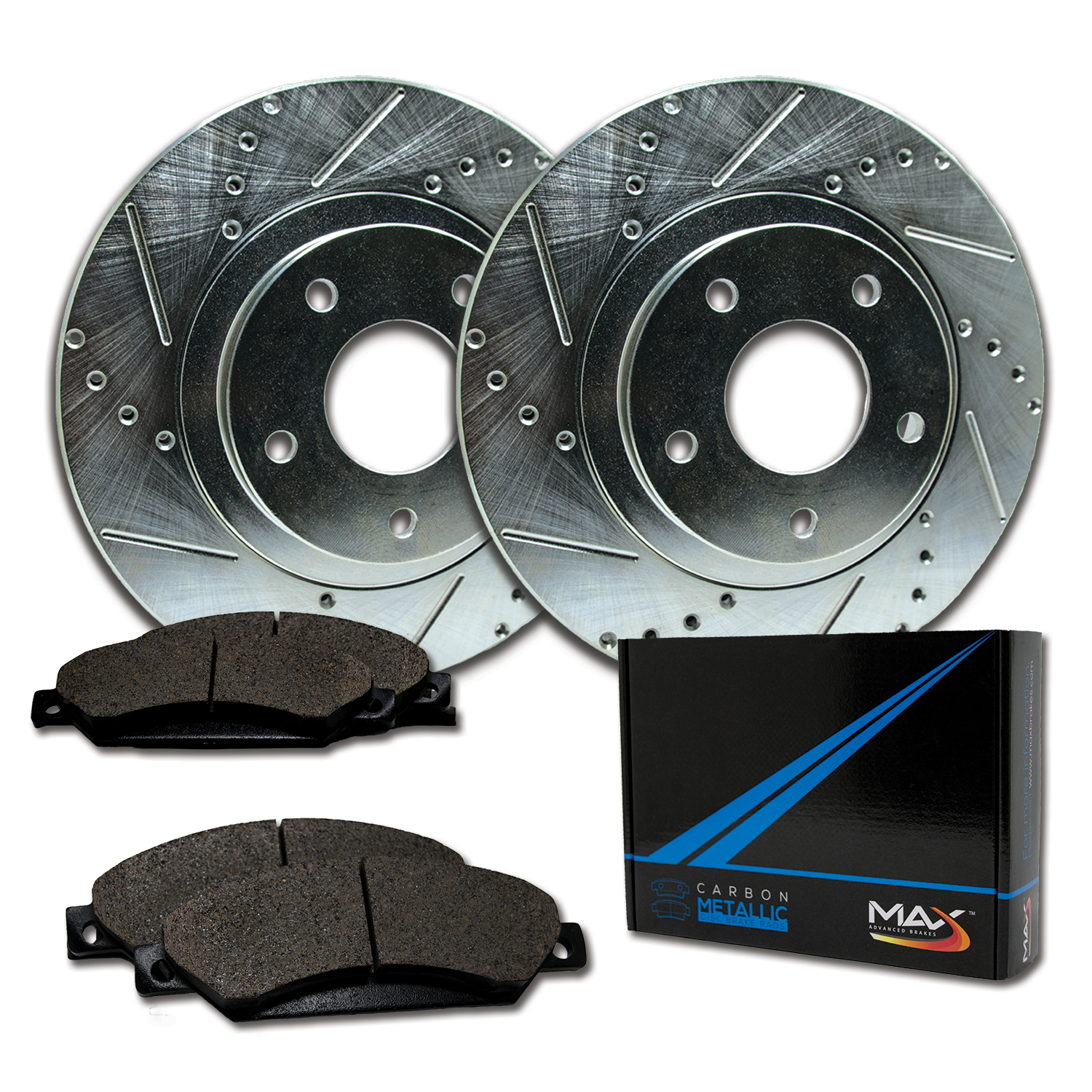 Max Brakes Rear Performance Brake Kit [ Silver Zinc Slotted Drilled Rotors + Metallic Pads ] TA016612 | Fits: 1997 97 Acura CL - image 8 of 8