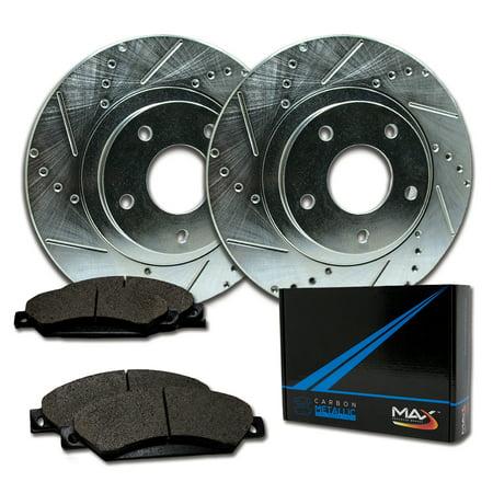 Max Brakes Rear Performance Brake Kit [ Silver Zinc Slotted Drilled Rotors + Metallic Pads ] TA076212 | Fits: 2000 00 2001 01 2002 02 2003 03 Buick LeSabre - image 8 de 8