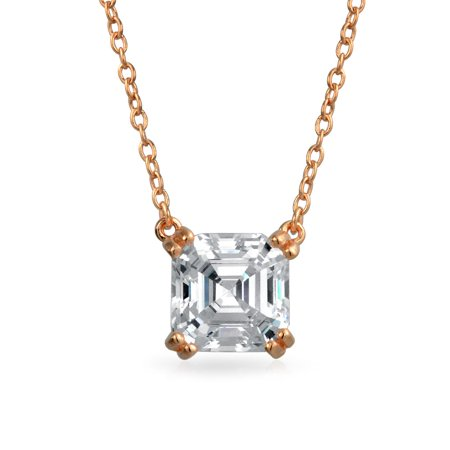 1.5 Ctw Solitaire Square Asscher Cut Cubic Zirconia CZ Pendant Necklace For Women Rose Gold Plated 925 Sterling Silver