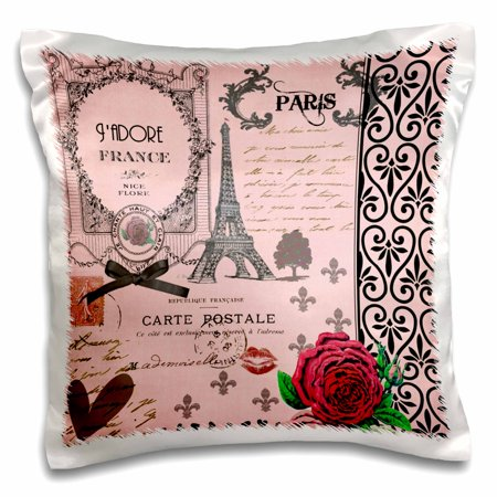 3dRose Stylish Vintage Pink Paris Collage Art - Eiffel Tower - Red Rose - Girly Gothic Black Bow and swirls - Pillow Case, 16 by 16-inch