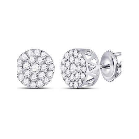 14kt White Gold Womens Round Diamond Circle Frame Cluster Earrings 1.00 Cttw - image 1 of 1
