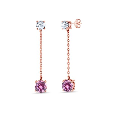 4.06 Ct Round Pink Zirconia 18K Rose Gold Plated Silver (406 Jewel)