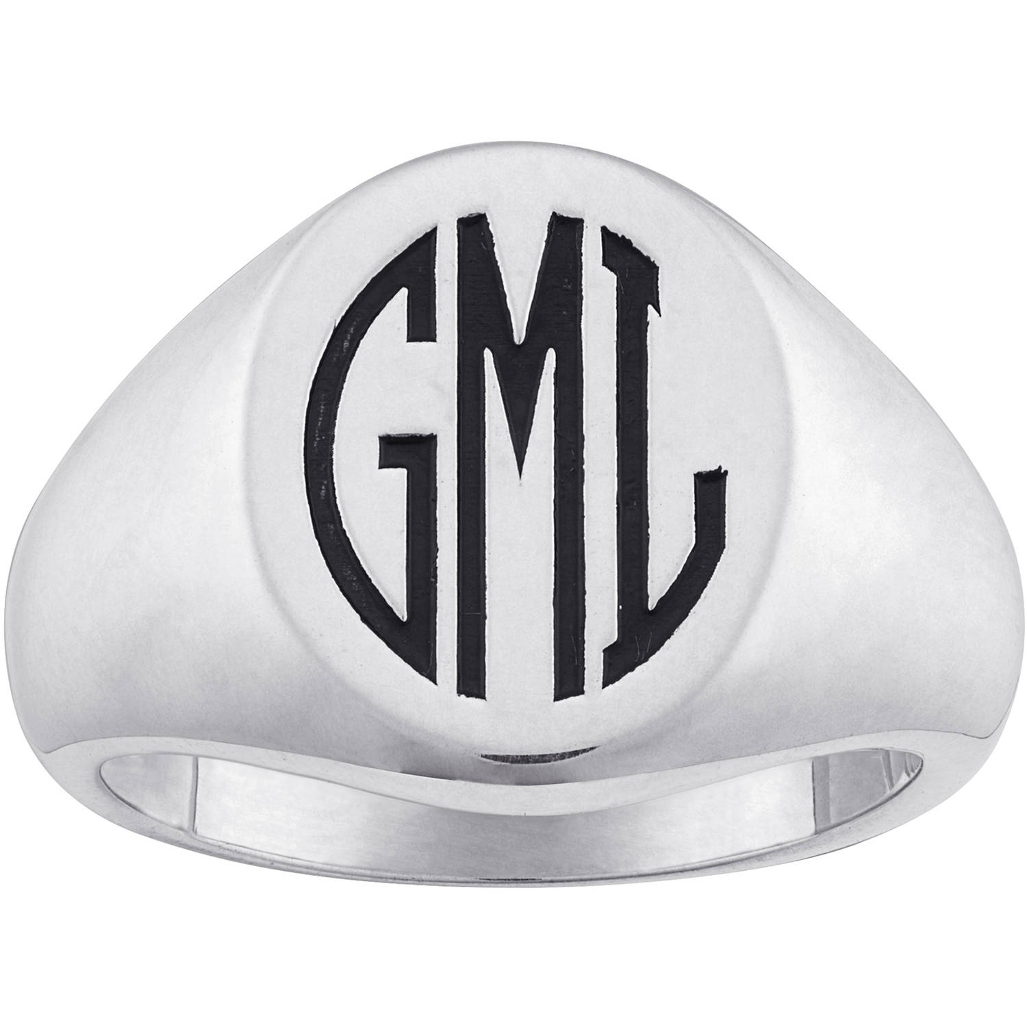 Personalized Men's Sterling Silver Laser Engraved Oval Monogram Signet Ring