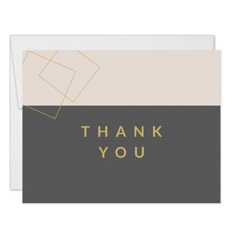 Minimalist Birthday Thank You Notecards with Envelopes ( Pack of 25 ) Folded Thank You Cards Dinner Party Male Female Modern B'day Retirement Celebration Blank Note Thanks Excellent Value VT0071B](Retirement Celebration)