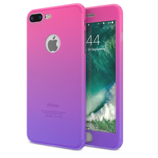 "For iPhone 7 4.7"" Ultra Thin 360° Ombre Full Body Protective Case with Tempered Glass"
