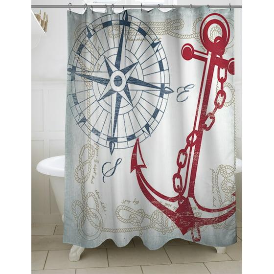 Thumbprintz Anchors Away White Shower Curtain, 71\