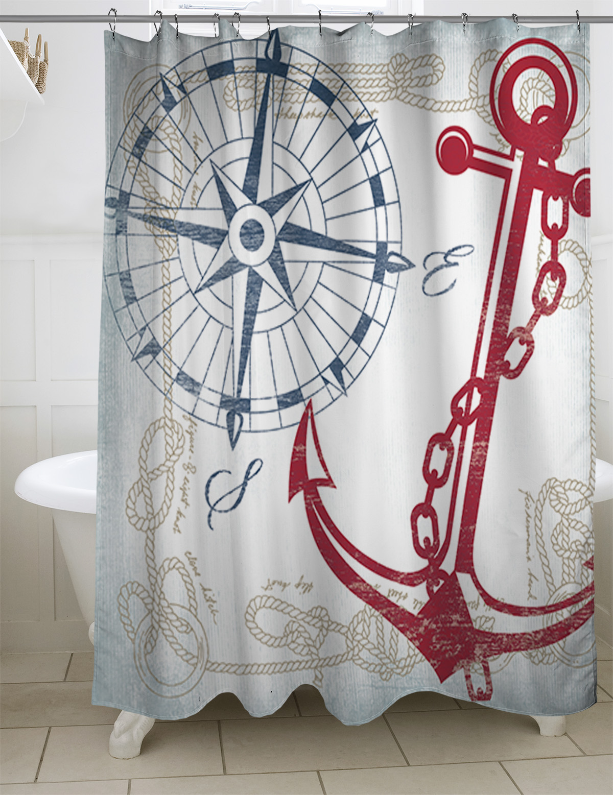 Genial Thumbprintz Anchors Away White Shower Curtain, ...