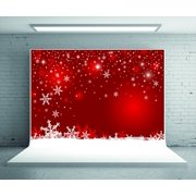 GreenDecor Polyster 5x7ft Red Photo Backdrop Snowflake Glitter Christmas Photography Backdrop Photo Booth Prop Background for Studio