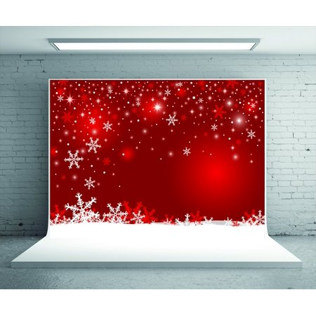 GreenDecor Polyster 5x7ft Red Photo Backdrop Snowflake Glitter Christmas Photography Backdrop Photo Booth Prop Background for Studio - Christmas Backgrounds For Photography