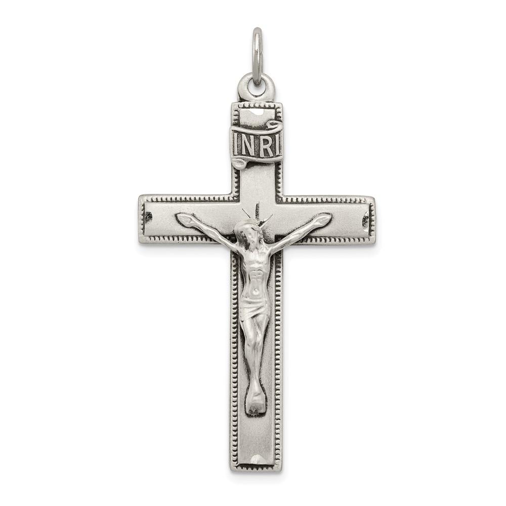 925 Sterling Silver INRI Crucifix Cross Prayer Pendant