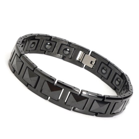 Elegant Black Tungsten Carbide Mens Magnetic Therapy Link Bracelet Pain Relief