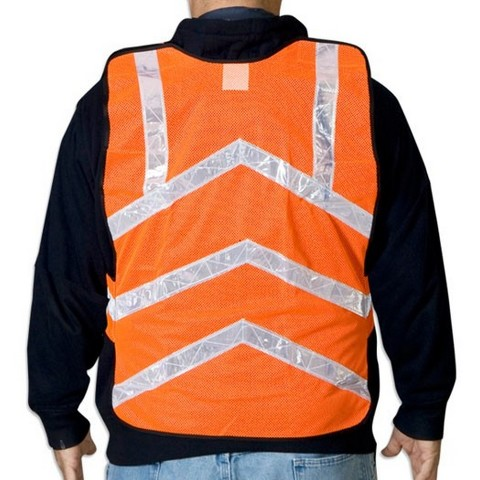 50-pack Ironwear Hi Vis Safety Vests - Neon Orange Mesh with Reflective Stripe