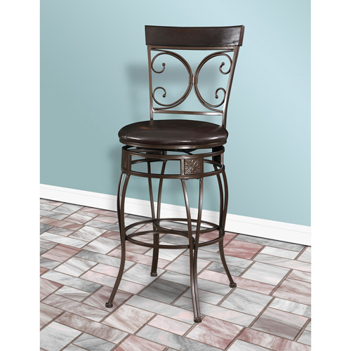 "Big and Tall Back to Back Scroll 30"" Bar Stool, Dark Bronze"
