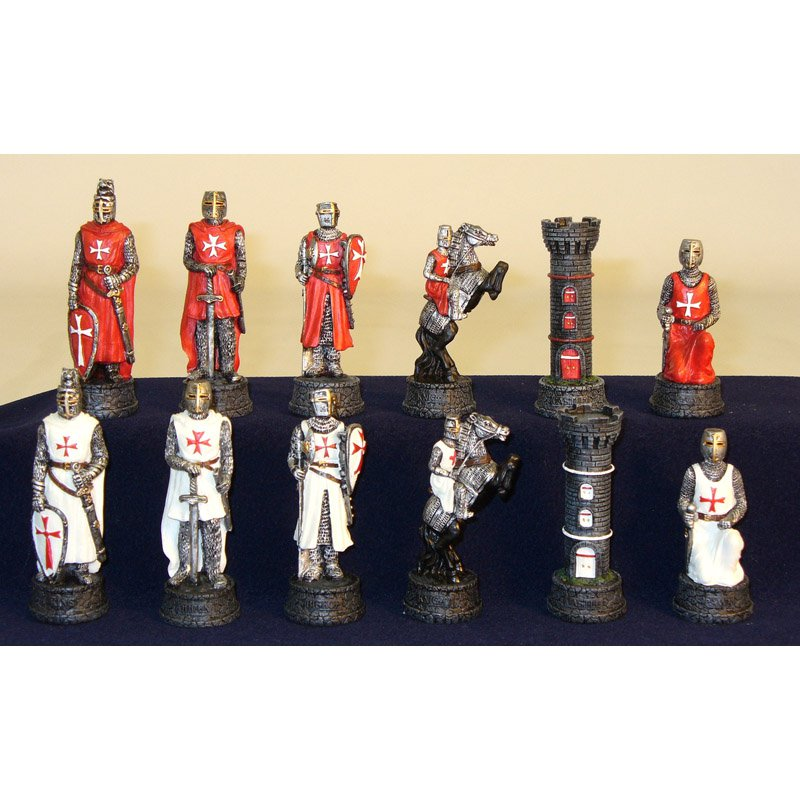 Crusades Red/White Painted Resin Chess Pieces