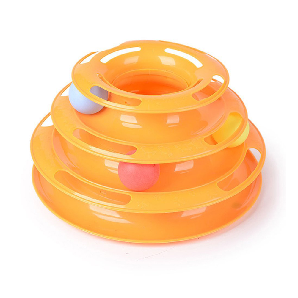 Cat Chase Toy Three Layers Track Ball Toys Intelligence Crazy Play Ball Tray Cat Toy (Green) by