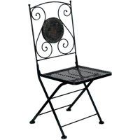 Furniture of America Dario Patio Bistro Chair, Set of 2, Black