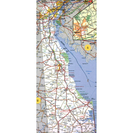 Laminated Map - Roads and highways map of Delaware state - 2000 Poster 24 x