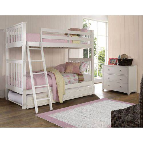 Barrett Full Over Full Bunk Bed with Trundle White Finish